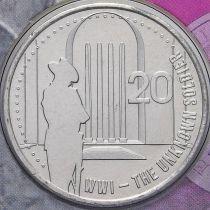 Австралия 20 центов 2015 год. Могила неизвестного солдата.
