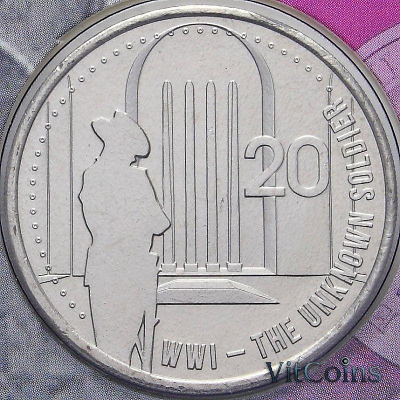 Монета Австралии 20 центов 2015 год. Могила неизвестного солдата.