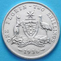 Австралия 1 флорин 1936 год. Серебро.