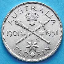 Австралия 1 флорин 1951 год. 50 лет Федерации. Серебро.