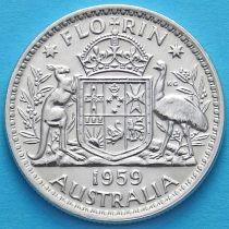 Австралия 1 флорин 1959 год. Серебро