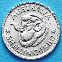 Австралия 1 шиллинг 1960 год. Елизавета II Серебро.