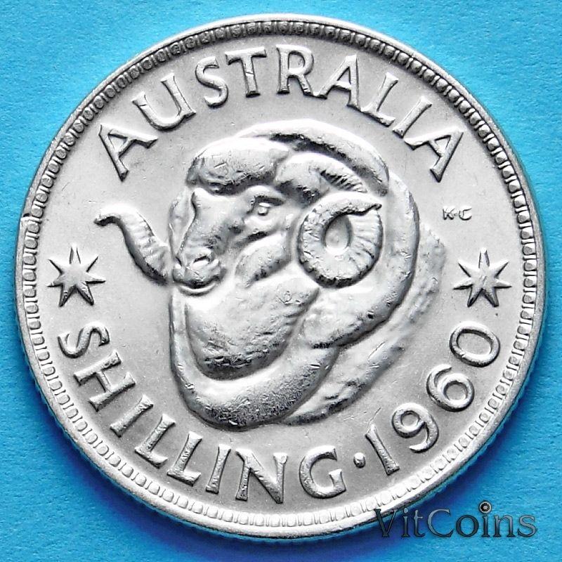 Монета Австралии 1 шиллинг 1960 год. Елизавета II Серебро.