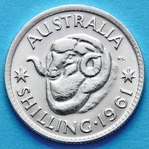 Австралия 1 шиллинг 1961 год. Елизавета II Серебро.