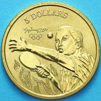 Австралия 5 долларов 2000 год. Настольный теннис.