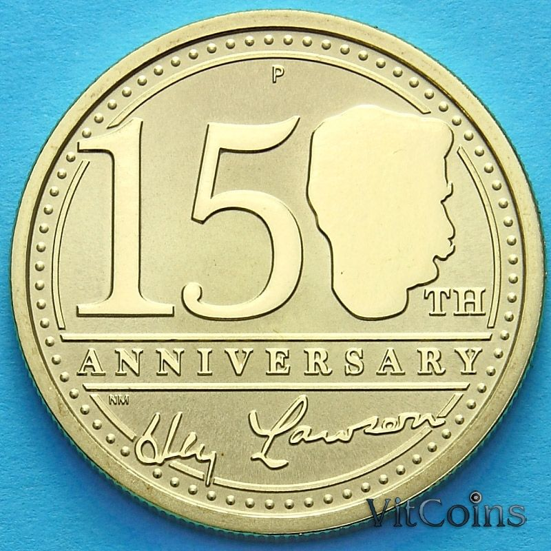Монета Австралии 1 доллар 2017 год. Юбилейная монета. 100 лет писателю Генри Лоусону.