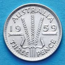 Австралия 3 пенса 1955-1963 год. Елизавета II Серебро.
