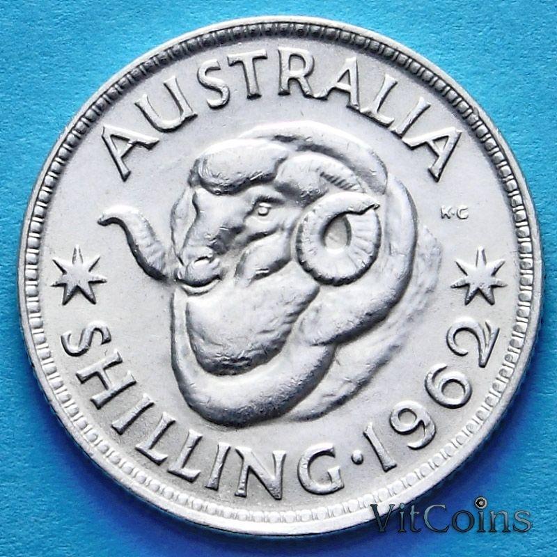 Монета Австралии 1 шиллинг 1962 год. Елизавета II Серебро.