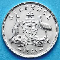 Австралия 6 пенсов 1961 год. Серебро.