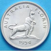 Австралия 1 флорин 1954 год. Серебро