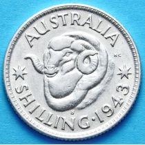 Австралия 1 шиллинг 1943 год. Серебро