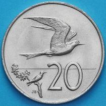 Острова Кука 20 центов 1974 год. Австралийская крачка.