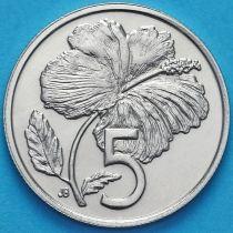Острова Кука 5 центов 1974 год. Гибискус.