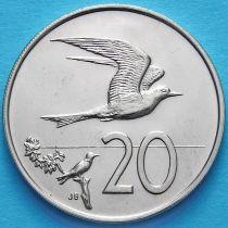 Острова Кука 20 центов 1972-1973 год. Австралийская крачка.