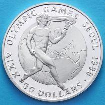Острова Кука 50 долларов 1987 год. Олимпийский огонь. Серебро.