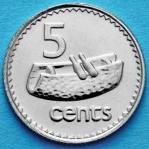 Лот 20 монет. Фиджи 5 центов 1992-2006 год.