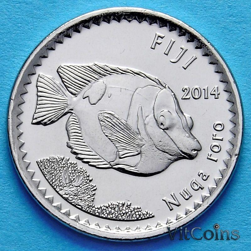 Монета Фиджи 5 центов 2014. Рыба кролик.
