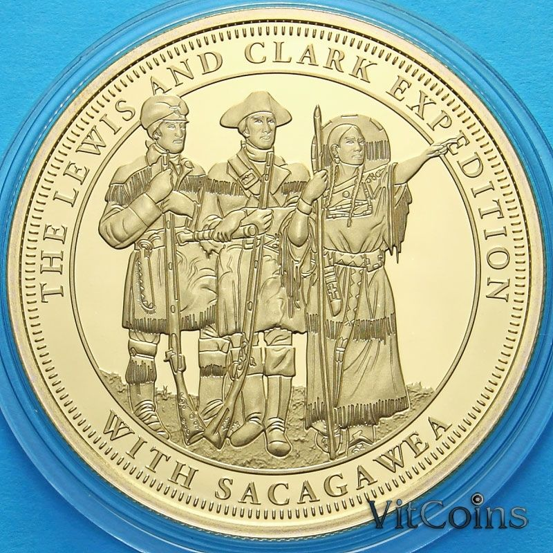 Монета Фиджи 1 доллар 2015 год. Сакагавея, Льюис и Кларк.