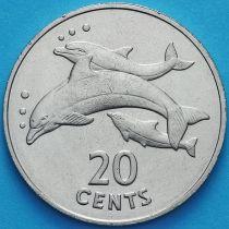 Кирибати 20 центов 1979 год. Дельфины.