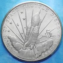 """Маршалловы острова 5 долларов 1988 год. Космический шаттл """"Дискавери""""."""