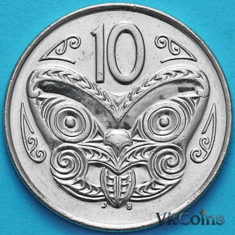 Монета Новая Зеландия 10 центов 2003 год. Маска Маори.