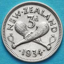 Новая Зеландия 3 пенса 1934 год. Серебро