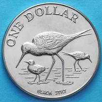Новая Зеландия 1 Доллар 1985 год. Чёрный ходулочник.