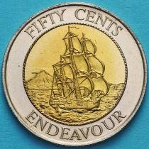 Новая Зеландия 50 центов 1994 год. Корабль Джеймса Кука Индевор.