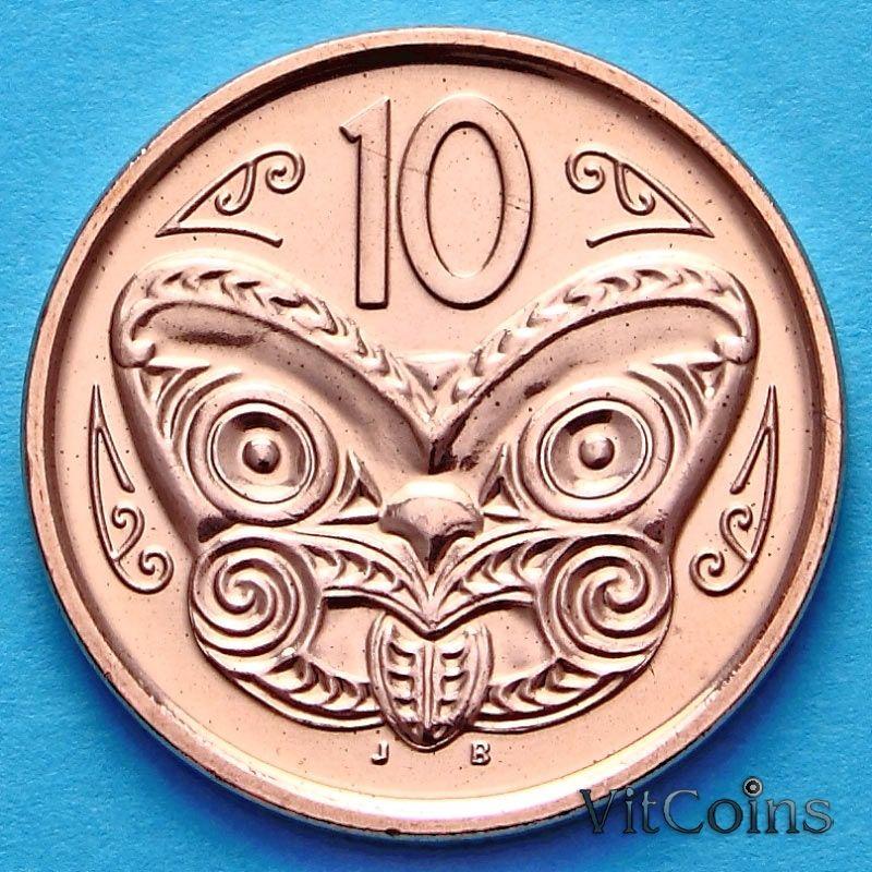 Монета Новой Зеландии 10 центов 2007-2013 год. Маска Маори.