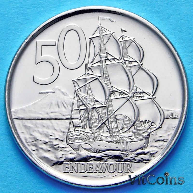 Монета Новой Зеландии 50 центов 2006-2009 год. Парусник.