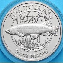 Новая Зеландия 5 долларов 2003 год. Гигантская кокапу.