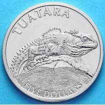 Новая Зеландия 5 долларов 2007 год. Туатара.