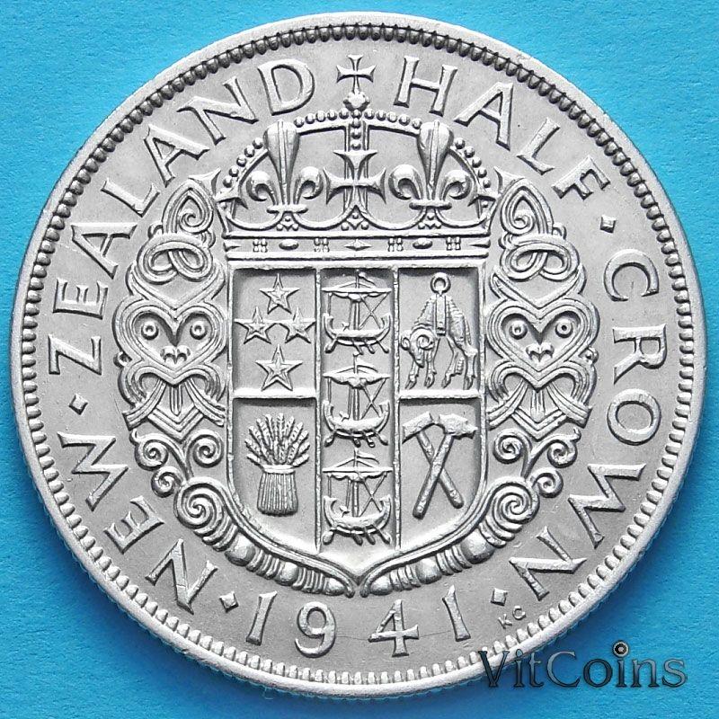 Монета Новой Зеландии 1/2 кроны 1941 год. Серебро.