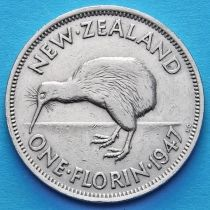 Новая Зеландия 1 флорин 1947 год.
