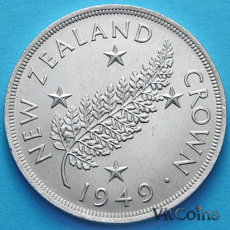 Монеты Новой Зеландии 1 крона 1949 год. Серебро.