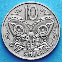 Новая Зеландия 1 шиллинг 1967-1969 год. Маска маори.