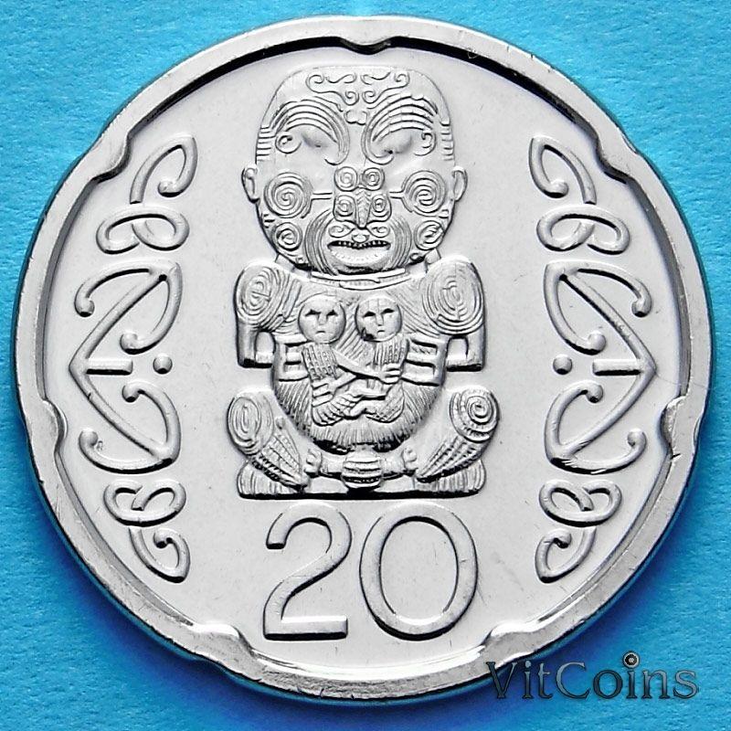 Монета Новой Зеландии 20 центов 2014 год. Божество Маори.