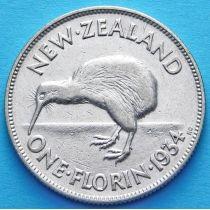 Новая Зеландия 1 флорин 1934 год. Георг V. Серебро