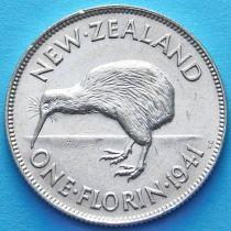 Новая Зеландия 1 флорин 1941 год. Георг VI. Серебро