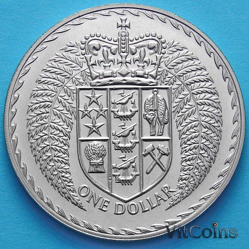 Монеты Новой Зеландии 1 доллар 1976 год. Герб.