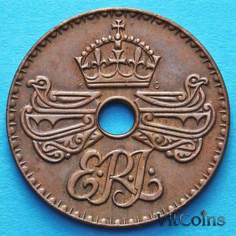 Монета Британской Новой Гвинеи 1 пенни 1936 год.