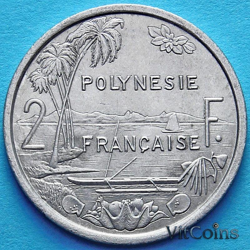 Монета Французская Полинезия 2 франка 1999 год.