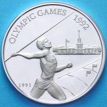Самоа и Сизифо 10 долларов 1991 год. Метание копья. Серебро.