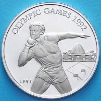 Самоа и Сизифо 10 долларов 1991 год. Метание ядра. Серебро.