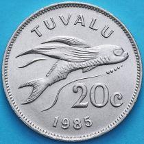 Тувалу 20 центов 1985 год. Летучая рыба.