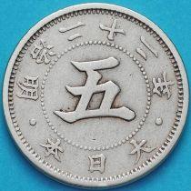 Япония 5 сен 1889 год.