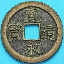 Япония 1 мон 1668-1683 год. Тонкая буква.