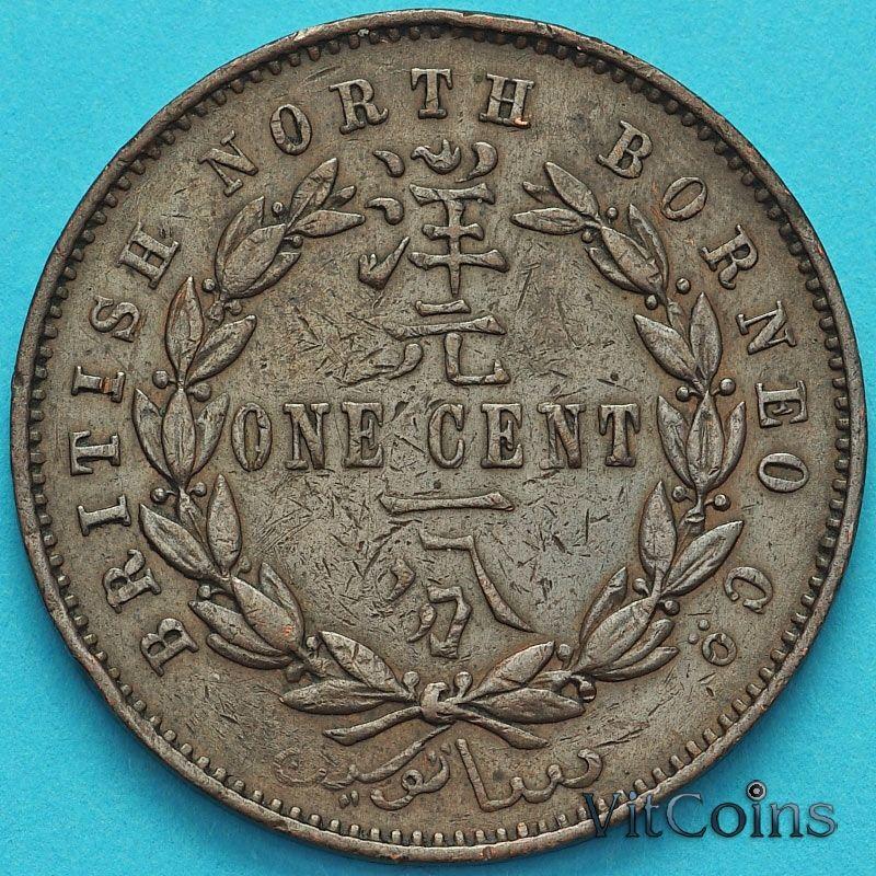 Монета Британское Северное Борнео 1 цент 1887 год.