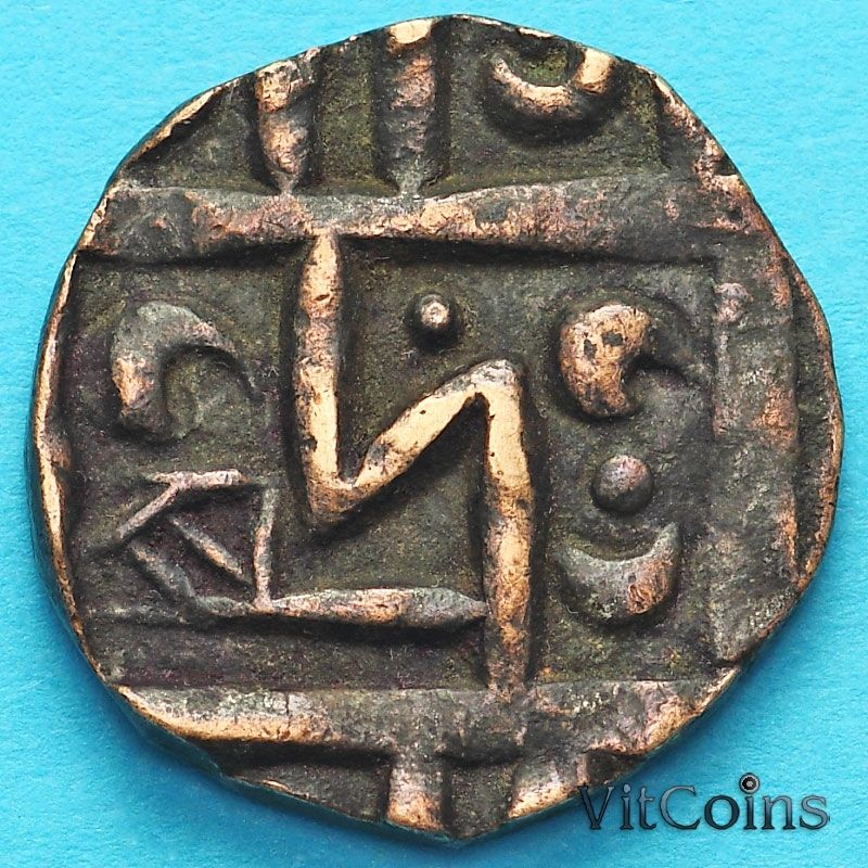 Монета Бутан 1/2 рупии 1820-1840 год. km3.3