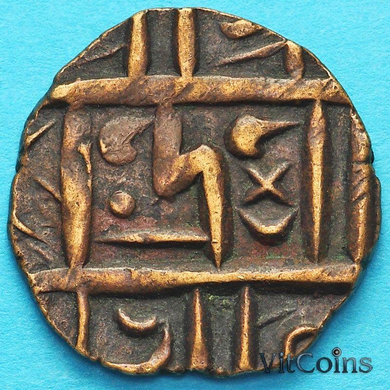 Монета Бутан 1/2 рупии 1820-1840 год. km4.2